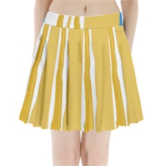 Blue and yellow lines Pleated Mini Mesh Skirt