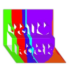 Colorful decorative lines You Rock 3D Greeting Card (7x5)