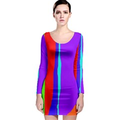 Colorful decorative lines Long Sleeve Bodycon Dress