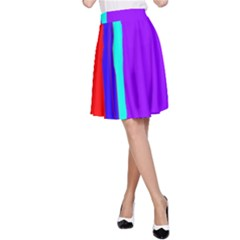 Colorful decorative lines A-Line Skirt