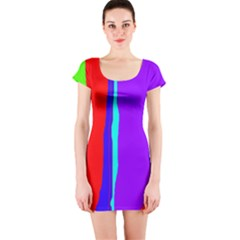 Colorful decorative lines Short Sleeve Bodycon Dress