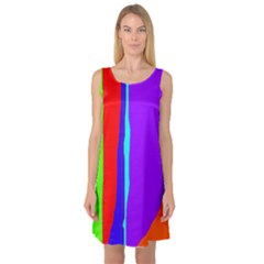 Colorful decorative lines Sleeveless Satin Nightdress