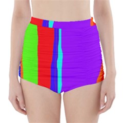 Colorful decorative lines High-Waisted Bikini Bottoms