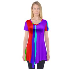Colorful decorative lines Short Sleeve Tunic