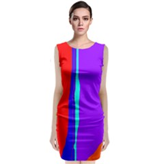 Colorful decorative lines Classic Sleeveless Midi Dress