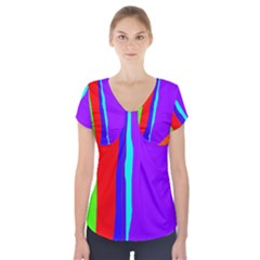 Colorful decorative lines Short Sleeve Front Detail Top