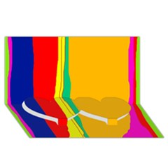 Colorful lines Twin Heart Bottom 3D Greeting Card (8x4)