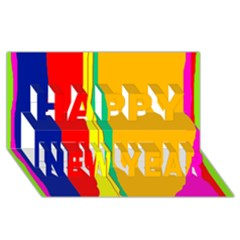 Colorful lines Happy New Year 3D Greeting Card (8x4)