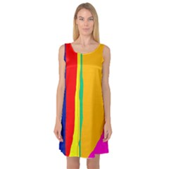 Colorful lines Sleeveless Satin Nightdress