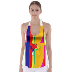 Colorful lines Babydoll Tankini Top