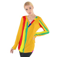 Colorful lines Women s Tie Up Tee