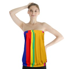 Colorful Lines Strapless Top
