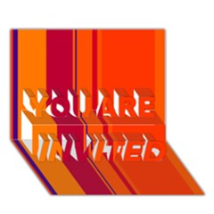 Orange lines YOU ARE INVITED 3D Greeting Card (7x5)
