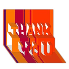 Orange lines THANK YOU 3D Greeting Card (7x5)