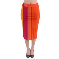 Orange lines Midi Pencil Skirt