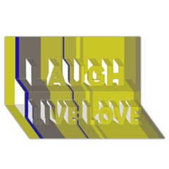 Green elegant lines Laugh Live Love 3D Greeting Card (8x4)