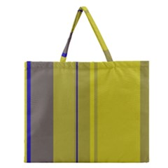 Green elegant lines Zipper Large Tote Bag