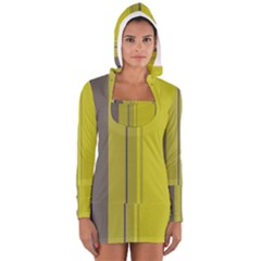 Green elegant lines Women s Long Sleeve Hooded T-shirt