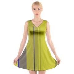 Green elegant lines V-Neck Sleeveless Skater Dress