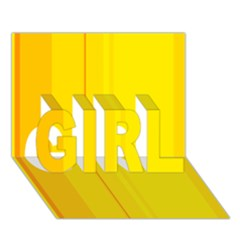 Yellow lines GIRL 3D Greeting Card (7x5)