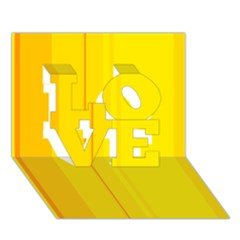 Yellow lines LOVE 3D Greeting Card (7x5)