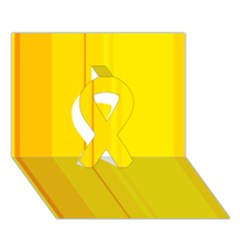 Yellow lines Ribbon 3D Greeting Card (7x5)