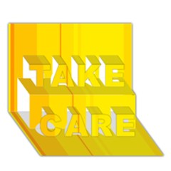 Yellow lines TAKE CARE 3D Greeting Card (7x5)