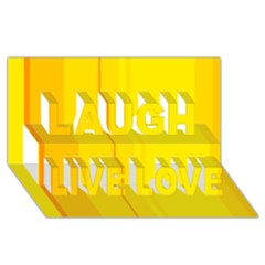 Yellow lines Laugh Live Love 3D Greeting Card (8x4)