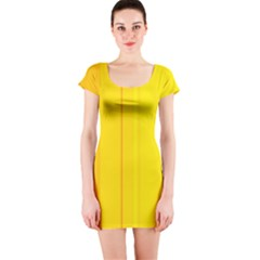 Yellow lines Short Sleeve Bodycon Dress