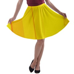 Yellow lines A-line Skater Skirt