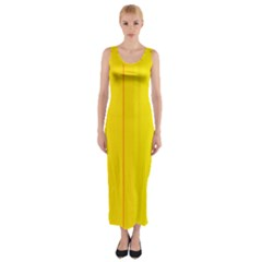 Yellow lines Fitted Maxi Dress