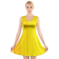Yellow lines V-Neck Sleeveless Skater Dress