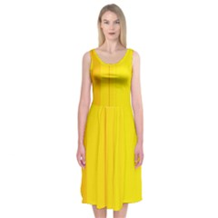 Yellow lines Midi Sleeveless Dress