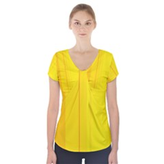 Yellow lines Short Sleeve Front Detail Top