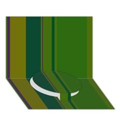 Green elegant lines Circle Bottom 3D Greeting Card (7x5)