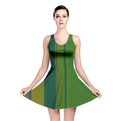 Green elegant lines Reversible Skater Dress