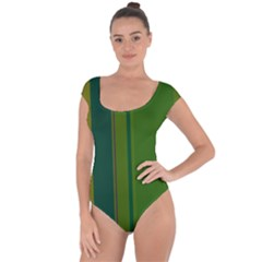 Green elegant lines Short Sleeve Leotard