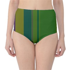 Green elegant lines High-Waist Bikini Bottoms