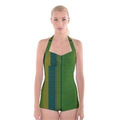 Green elegant lines Boyleg Halter Swimsuit