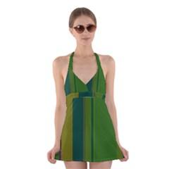 Green elegant lines Halter Swimsuit Dress