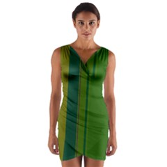Green elegant lines Wrap Front Bodycon Dress