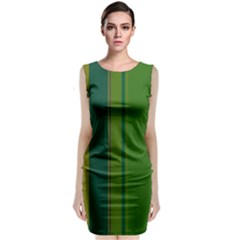 Green elegant lines Classic Sleeveless Midi Dress