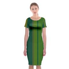 Green Elegant Lines Classic Short Sleeve Midi Dress