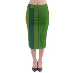 Green Elegant Lines Midi Pencil Skirt