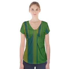 Green elegant lines Short Sleeve Front Detail Top