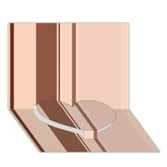 Elegant brown lines Heart Bottom 3D Greeting Card (7x5)