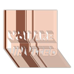 Elegant brown lines YOU ARE INVITED 3D Greeting Card (7x5)