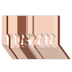 Elegant brown lines BEST SIS 3D Greeting Card (8x4)