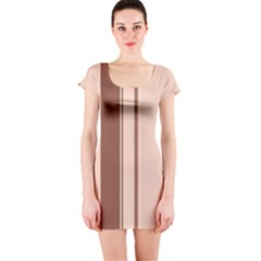 Elegant brown lines Short Sleeve Bodycon Dress
