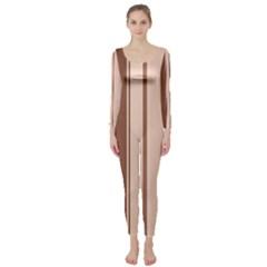 Elegant brown lines Long Sleeve Catsuit